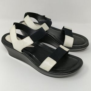 Dansko Black Off-White Wedge Sandals Size 41